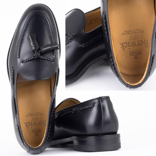 Berwick1707 バーウィック コインローファー レザーソール シューズ Style Edition スタイルエディション Made in Spain 4340-BLACK